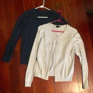 2 Cardigans Button Soft Knit Medium M S Cotton